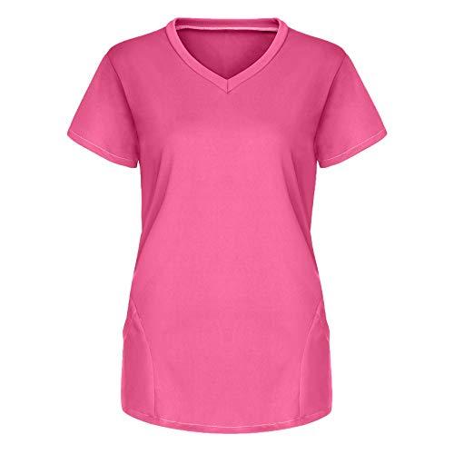 Padaleks Kasack Blouse de soin pour femme – Couleur unie – Avec poches – Manches courtes – Col rond – Vêtement professionnel infirmière – Deux poches