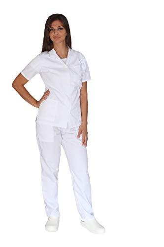 tessile astorino Broderie gratuite – Divisa sanitaire blanche – Pantalon et Haut d'hôpital – Pour homme et femme – Ensemble pour dentiste, infirmier, hôpital, opérateur sanitaire – Blanc – L