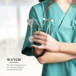 UKCOCO 3 Pièces Infirmière Revers Montre Médecin Clip sur Rétractable Glitter Coeur en Métal Badge Fob Montre pour Hommes Femmes