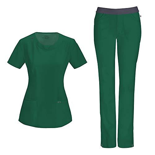Cherokee Infinity Ensemble d'infirmière avec haut à col rond 2624A pantalon slim taille basse 1124A pour femme – Vert – Taille XS