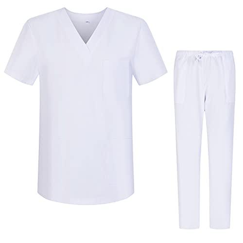 Misemiya – Ensemble Uniformes Unisexe Blouse – Uniforme Médical avec Haut et Pantalon – Ref.8178 – Medium, Blanc 68