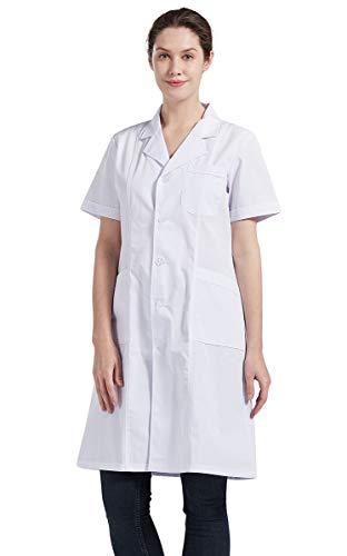 Nanxson Blouse Médicale Veste Chimie Laboratoire Manches Courtes Uniforme De Travail Homme Femme CF9006 (XL, Blanc pour Femme)