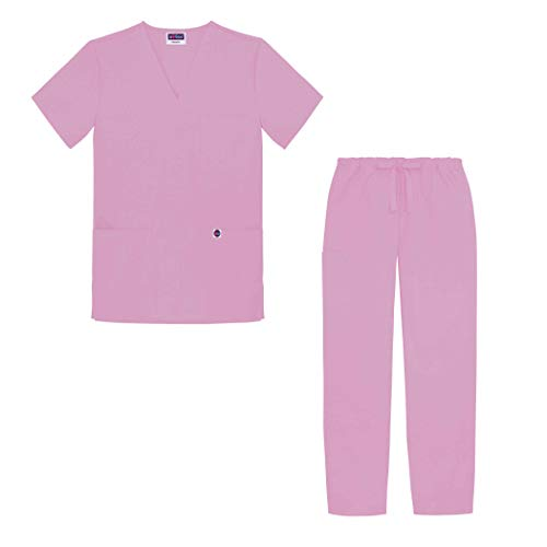 Sivvan Tenue Médicale Unisexe Classique – Blouse Col en V & Pantalon à Cordon – S8400 – Sherbet – M