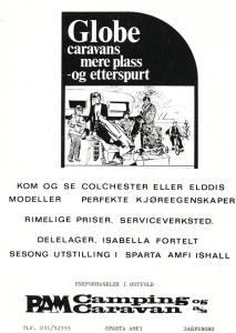 Annonse for Globe Caravans fra PAM i Sarpsborg 1975.BL