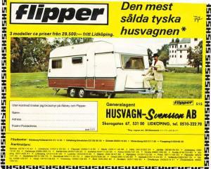 Bürstner, som da ble markedsført som Flipper, annonse fra 1977. BL