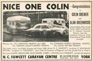 Elddis annonse etter engelske Caravan Road Rally 1975. BL