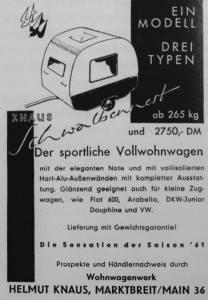 Knaus annonse fra 1961. BL