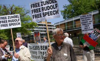 Zundel supporters demonstrate in front of the German Embassy in Washington, D.C.