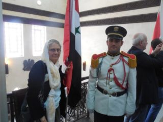 Jane Stillwater at Syrian Parliament, with Jim Dean on R, 2012 election