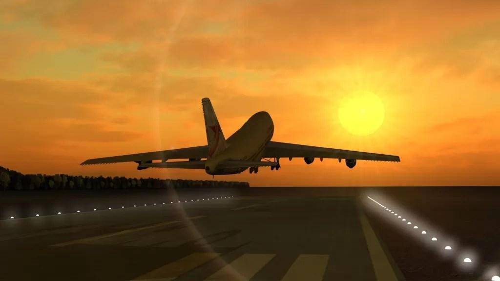 goedkoop vliegticket Vliegtuig zonsondergang