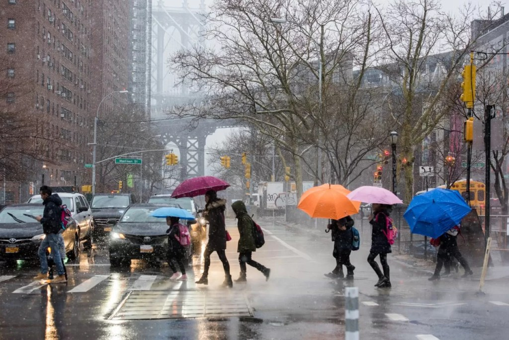 New York City op een regenachtige dag