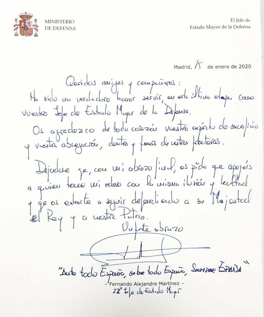 Carta despedida Tte. Gral Alejandre
