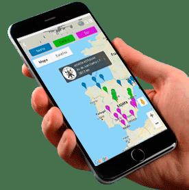 App movil Vetpac mapa de geolocalización