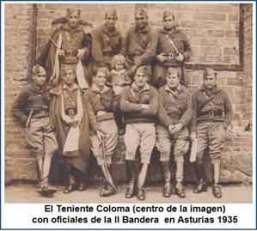 Tte. Coloma y oficiales de la II Bandera en Asturias 1935