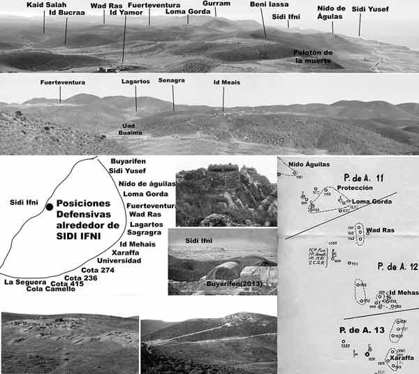 Los escenarios de los temas tácticos cambiaban a lo largo de todo el perímetro defensivo que rodeaba a Sidi-Ifni