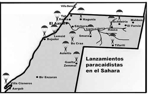 Los-saltos-paracaidistas-se-iniciaron-próximos-a--El-Aaiún-y-luego-por-todo-el-norte,-incluso-en-Villa-Cosneros