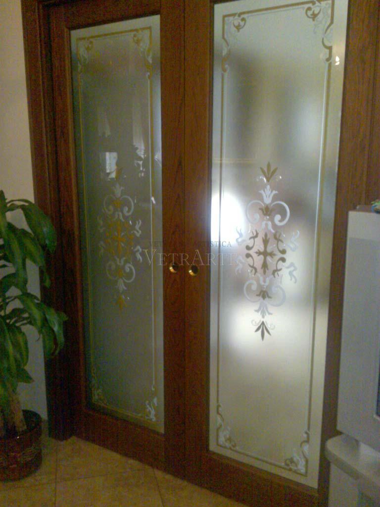 Porta scorrevole in legno e vetro decorato  Vetrarte GR