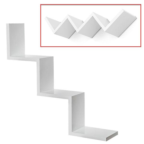 Vasagle corner shelf, 5 level hanging shelf, rack zigzag design, bookcase, 20 x 20 x 127.5 cm. Mensola Da Parete Zig Zag Design Moderno In Legno Mdf 3 Ripiani Scaffale 59x12cm Ebay