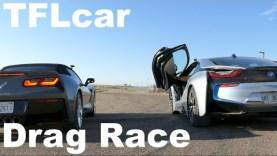 2015 Chevy Corvette Stingray vs BMW i8 Drag Race: V8 vs Hybrid Tech