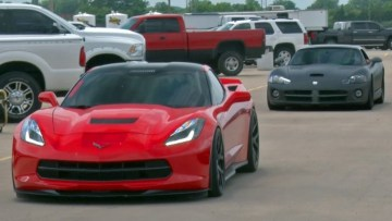 Chick in a Procharged C7 Corvette takes down Viper!