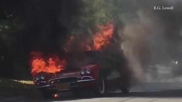 Vintage Chevrolet Corvette catches fire