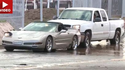 C5 Corvette Gets Stuck in a Puddle During Heavy Rain Storm in Phoenix Arizona