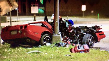 C4 Corvette Crashes into Light Pole in Littleton, Colorado