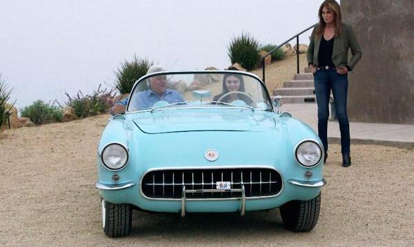 "CNBC (from ""Jay Leno's Garage"") Caitlyn Jenner watches as her daughter Kendall goes for a classic car joy ride with Jay Leno."