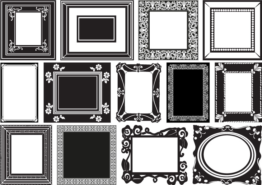 13 cornici in bianco e nero  white and black frames