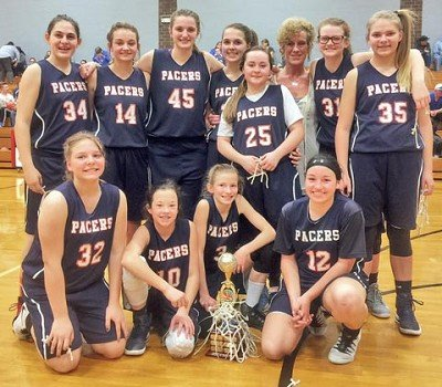 The seventh grade girls basketball team from Switzerland County Middle School won the 2017 Tri County Tournament on Thursday March 10th. Team members include