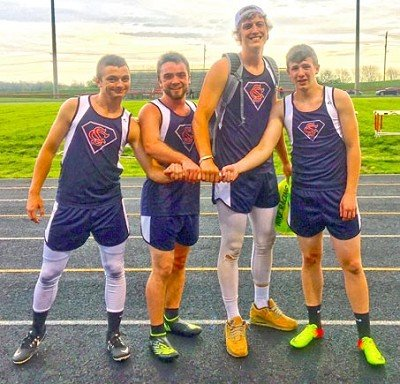 This quartet of runners has been steadily dropping the school record in the 400-meter relay this year. Last Tuesday night at South Dearborn in a four-way meet