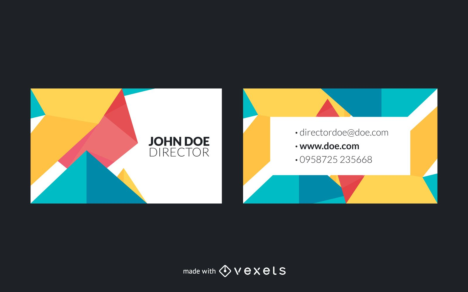Polygonal Business Card Maker Editable Design