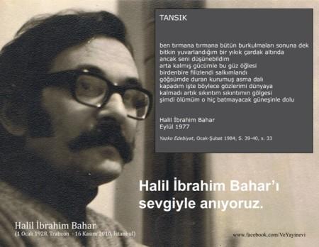 Halil İbrahim Bahar, Tansık şiiri,