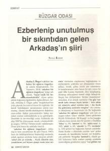 Arkadaş'ın şiiri, Arkadaş Zekâi Özger, Arkadaş Z. Özger'in şiiri, Yavuz Özdem'in Hürriyet Gösteri'de yayımlanan yazısı.