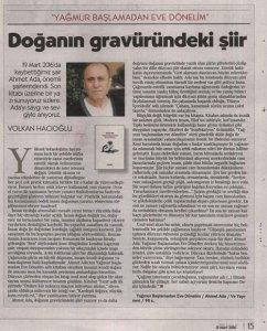 Ahmet Ada, Yağmur başlamadan eve dönelim kitabı hakkında Volkan Hacıoğlu'nun Cumhuriyet Kitap'ta yayınlanan yazısı.