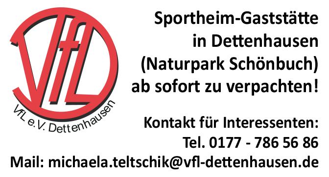 Sportheim-Gaststätte zu verpachten