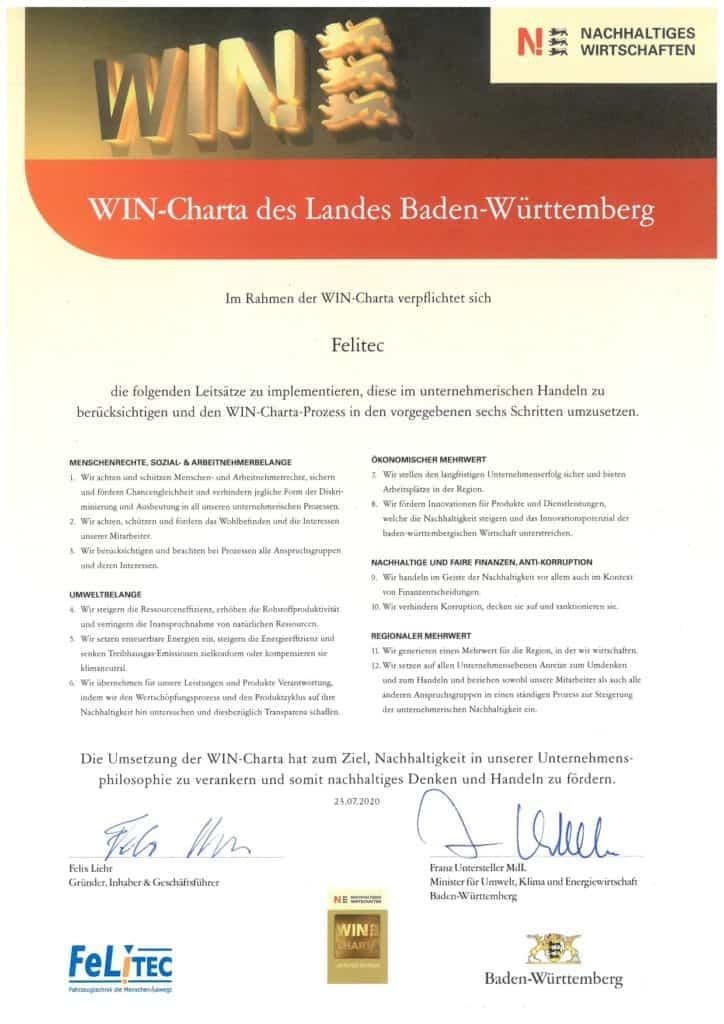 Urkunde WIN-Carta-des-Landes-Baden-Württemberg