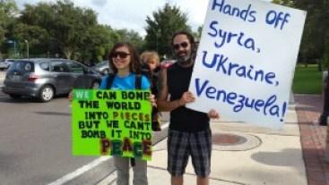 Picket against militarism