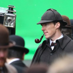 Benedict Cumberbatch and Martin Freeman film a scene for the 'Sherlock' christmas special in London Featuring: Benedict Cumberbatch Where: London, United Kingdom When: 07 Feb 2015 Credit: WENN.com