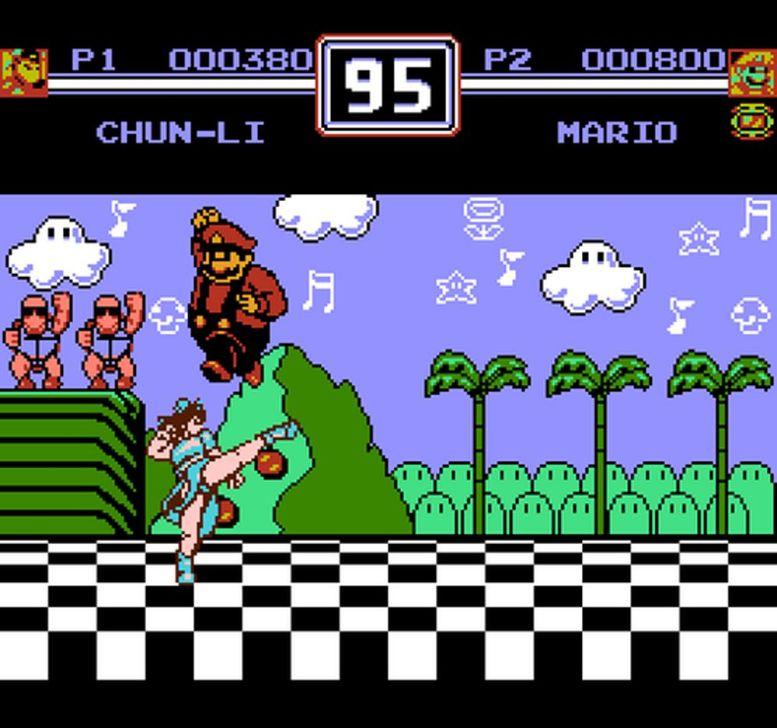 Un'istantanea dell'epico scontro tra Chun-Li e Mario in World Heroes 2. Per adeguarsi al contesto, la mascotte di Nintendo può lanciare nel gioco delle sfere di energia simili all'hadouken di Ryu