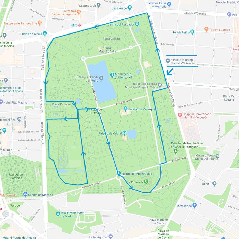 Circuito Parterre - Correr por el Parque Retiro