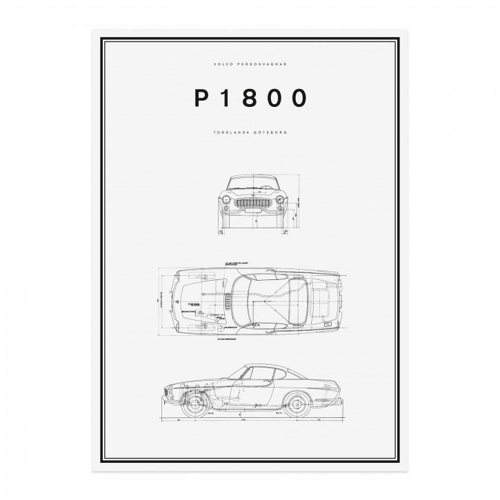 Volvo Poster P1800 500x700mm Strichzeichnung