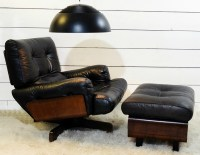 Lounge Chair and Ottoman, Black Leather and wood c. 1970 ...