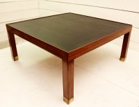 Wood and leather coffee table - Desk Table - Furniture ...