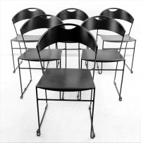 x 6 black metal dining room chairs