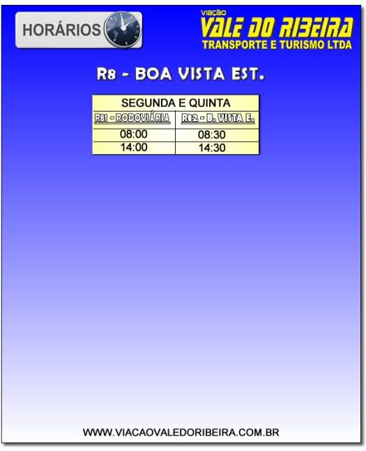 Horários R8 B. Vista Est. / Ribeirão de Registro SP