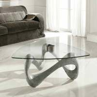 Glass and fossil stone coffee table California