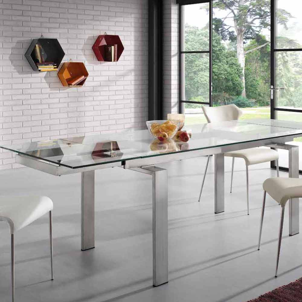 Extendable steel and glass dining table Judo modern design