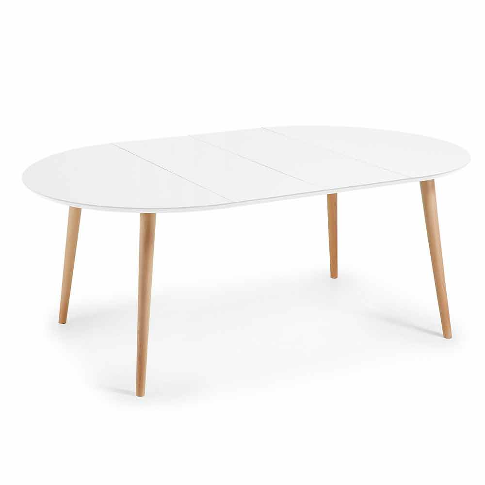 Round extendable wooden table Upama white top