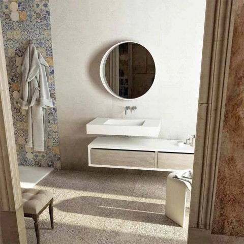 top with integrated central sink for bathroom gemona made in italy